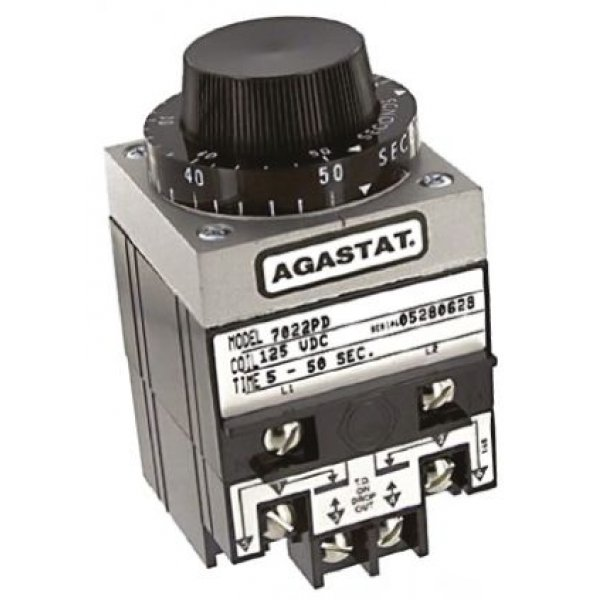 TE Connectivity 7022PD Timer Relay, Screw, 5 → 50 s, DPDT