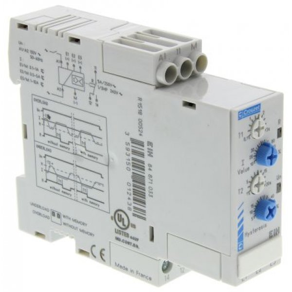 Crouzet 84871033 Current Monitoring Relay with SPDT Contacts