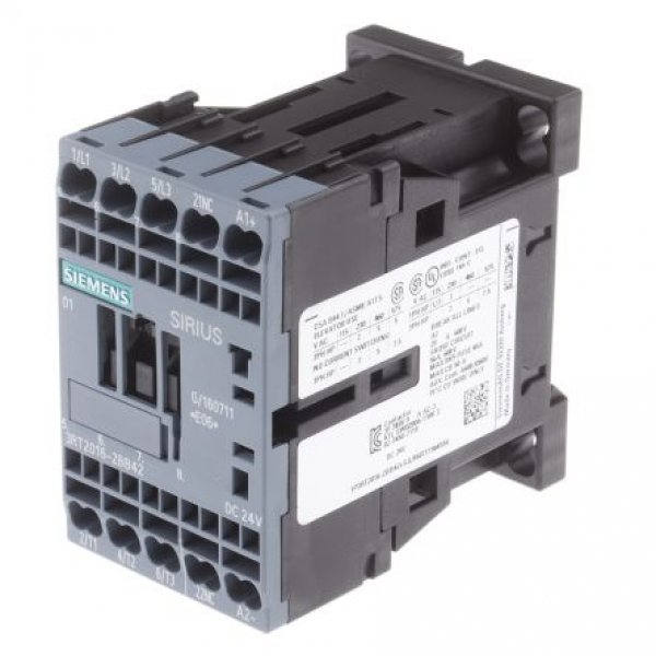 Siemens 3RT2016-2BB42 3 Pole Contactor, 3NO, 9 A, 4 kW (AC3), 24 V dc Coil