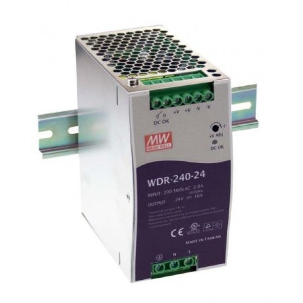 Mean Well WDR-240-24 WDR Switch Mode DIN Rail Panel Mount Power Supply, 240W, 24V dc/ 10A