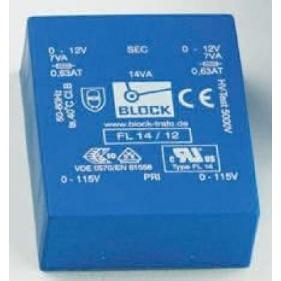 Block FL 24/6 6V ac 2 Output Through Hole PCB Transformer, 24VA