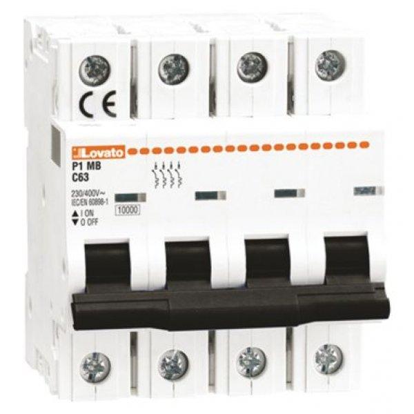 Lovato P1MB4PC01  MCB Mini Circuit Breaker 4P, 1 A, 10 kA, Curve C