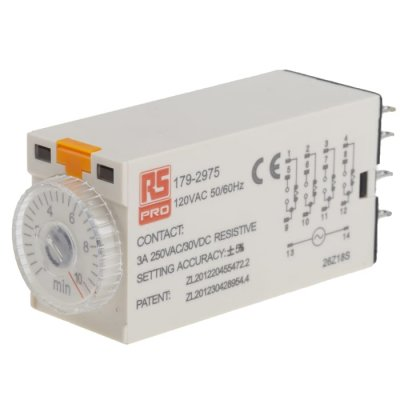 RS PRO 179-2975  ON-Delay 1 Time Delay Relay, 0.5 → 10 min, 4PDT, 4 Contacts, 4PDT, 110 V ac