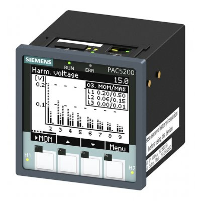 Siemens 7KM5412-6BA00-1EA2 LCD Digital Power Meter with Pulse Output, 94mm Cutout Height