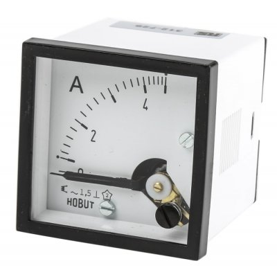 HOBUT D48MIS5A/2-004 Analogue Panel Ammeter 0/5A AC, 48mm x 48mm