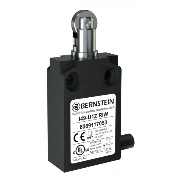 Bernstein AG 6089117053 I49 Limit Switch With Plunger, Roller Actuator, Polymeric, NO/NC