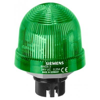 Siemens 8WD53205BC Siemens Green LED Beacon, 24 V ac/dc, Blinking, Flush Mounting
