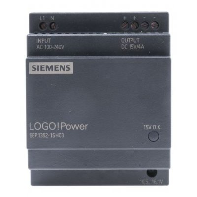 Siemens 6EP1352-1SH03 DIN Rail Panel Mount Power Supply 50W 15V 4A